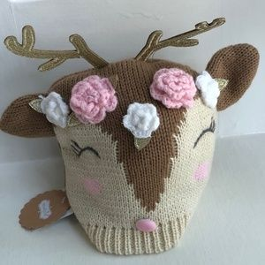 Mud Pie Reindeer Girl Knitted Hat Size 6 to 18 mos